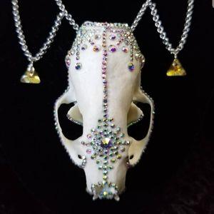 Jewelry - Hand Embellished Swarovski Mink Skull Necklace